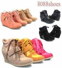 Fashion Lace Up Velcro High Top Ankle Wedge Heels Women's Sneaker Boots Shoes