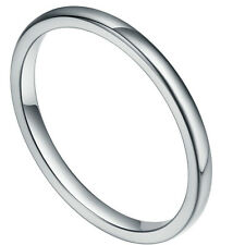 2mm New fashion  smooth silvery simply Tungsten Ring Band gift US full size4-12