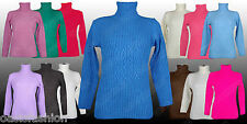 LADIES WOMENS GOOD QUALITY POLO NECK KNITTED JUMPER LONG SLEEVE