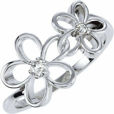 SILVER Mother's Floral Design Ring 2 Round Stones, Mom Family Jewelry Ring