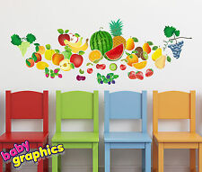 Fruity Day wall decals (watermelon, apple, grapes, banana, pear) - removable