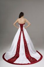 New White/red Wedding Dresses Bridal Gown In Stock Size 6 8 10 12 14 16 18