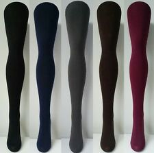Fleece Lined Thick Winter Tights - Black Grey Brown Navy, Footless/Stirrup