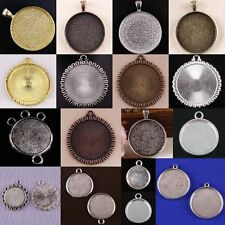 Tibet Silver/Copper /Gold Tone /Bronze Round Photo Frame Charm Pendant Bead Lots