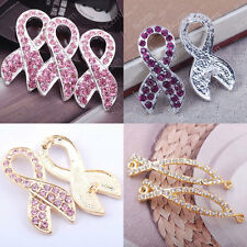 2pc pink crystal rhinestone ribbon bracelet connector breast cancer sign finding