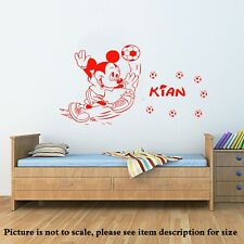Disney Mickey Mouse play football Wall Art STICKERS BOYS Mural Kids Name Decal