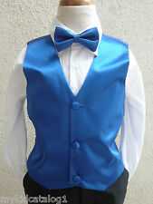 ROYAL/SAPPHIRE BLUE VEST WITH BOW TIE SET FOR BOY & TODDLER FORMAL TUXEDO SUIT