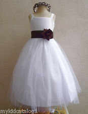 NWT WHITE BROWN BRIDESMAID PAGEANT BIRTHDAY WEDDING PARTY FLOWER GIRL DRESS