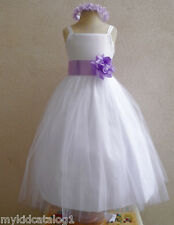 NWT WHITE LILAC BRIDESMAID PAGEANT BIRTHDAY WEDDING PARTY FLOWER GIRL DRESS