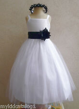 NWT WHITE BLACK BRIDESMAID PAGEANT BIRTHDAY WEDDING PARTY FLOWER GIRL DRESS