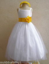 NWT WHITE/YELLOW PAGEANT RECITAL PROM WEDDING PARTY FLOWER GIRL DRESS