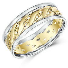 9ct Two Colour Yellow & White Gold Celtic Wedding Ring Bands 6mm, 7mm