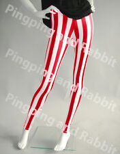 Red and White Vertical Stripes Mime Spandex Leggings Candy Cane Chrsitmas