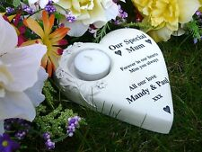 Memorial Grave Marker / Gift  Personalised SOLID Heart with T-Light - Made in GB