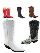 Cowgirl  Cowboy Embroidered  Knee High Boot  Shoes Black Tan Conac NEW 5 -10 NEW