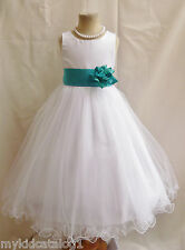 FL WHITE TEAL MERMAID GREEN BABY BRIDAL PARTY PAGEANT BIRTHDAY FLOWER GIRL DRESS