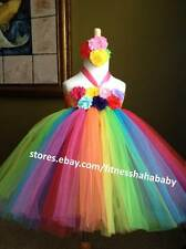 Rainbow Tutu Dress Matching Headband weddings party birthday special occasions
