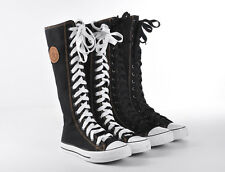 Women Girl PUNK EMO GOTHIC Shoes Sneaker Zip Lace Up Canvas Boots Knee High