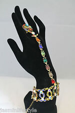 Ladies Diamante Crystal Chain Bracelet Ring Bridal Prom Hand Costume Jewellery