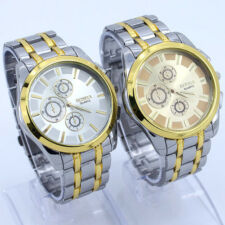 Two Color Men Luxury Gold White Dial Stainless Steel Case Sports Watch NG17