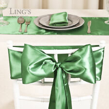"""6""""x108"""" Satin Chair Cover Sashes & 12""""x108"""" Table Runner Wedding Party Decor"""
