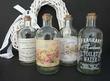 FRENCH STYLE GLASS BOTTLES & CORK VINTAGE CHIC PERFUME SOAP BUBBLE BATH WEDDING