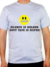 SILENCE IS GOLDEN - SMILEY FACE - MENS  HUMOUR THEME T-SHIRT