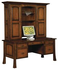 Amish Executive Computer File Desk Hutch Solid Wood Home Office Furniture
