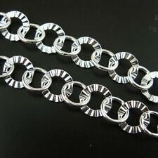 Sterling Silver Textured Circle Chain 8mm Bulk By The Foot Wholesale 925 Italy