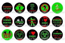 """ZOMBIES LOVE BRAINS and HUGS 15 1"""" PRECUT BOTTLECAPS IMAGES SCRAPBOOKING CRAFTS"""