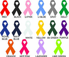 Lot of 12 Awareness Ribbon Vinyl Decals Stickers YOU CHOOSE COLOR car cancer