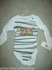 "INFANT ONE PC SAYS ""I LOVE MY MUMMY "" ON THE FRONT WITH GRAY & BLACK STRIPES"
