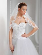 Wedding Veil Elbow Length Lace Edge Comb Attached W-17