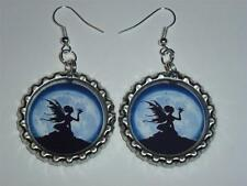 #1 14 DESIGNS FAIRY FAIRIES DANGLE EARRINGS BOTTLE CAP IMAGES PARTY GIFTS