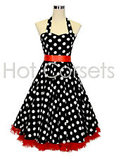 50s Black Polka Dot, Rockabilly, Swing, Prom Dress with Ribbon Bow & Petticoat