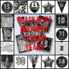 BLACK GLITZ BIRTHDAY PARTY PLATES CUPS NAPKINS DECORATIONS AGES 13TH TO 100TH