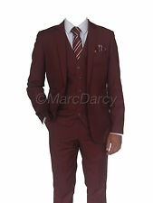 MARC DARCY 3 PIECE REG.FITTING SUIT IDEAL FOR WEDDINGS/SCHOOL PROMS (REX WINE)