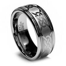 8MM Men's Tungsten Wedding Band His Celtic Ring Laser Etched Design High Polish