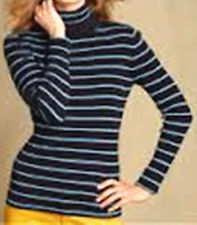 NWT Tommy Hilfiger Women Top, Jill Long-Sleeve Striped Ribbed Turtleneck M to  L