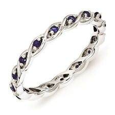 Silver Stackable Ring Created Sapphire Stones, September Birthstone Band QSK1478