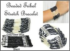 ~MULTI STRAND TRIBAL STRETCH BEADED BRACELET BANGLE~Black~Grey/Steel Blue~