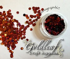 Nail Art Glitter Studs sequin discs dots 3mm - Red Holographic
