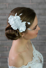 NEW Bridal Wedding Ivory or White Satin Rose Flower Corsage Hair COMB (G-01)