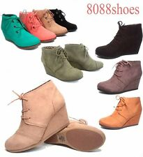 Women's Cute Low Wedge Causal Work Lace Up Oxford Dress Booties Shoes NEW 6 - 11