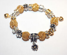 EUROPEAN STYLE CHARM BEAD BRACELET silver and gold