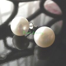 Mothers Day Gift Sterling Silver White Fresh Water Pearl Cultured Stud Earrings