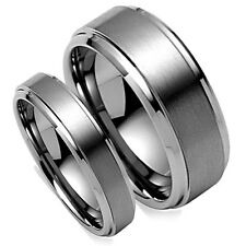 Matching Wedding Band Tungsten Set Titanium Color Brush Matted Finish, 8MM & 5MM