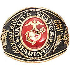 US Marine Corps USMC Gold Engraved Ring 18K Heavy Gold Plated