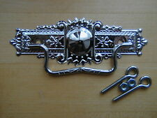 Eastlake Style Stamped Brass Drawer Pull Polished Nickel Finish - New