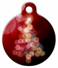 BRIGHT CHRISTMAS TREE RED - Custom Personalized Pet ID Tag for Dog Cat Collars